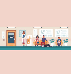 veterinary animal hospital visitors people with vector image