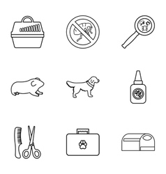 Veterinary things icons set outline style vector
