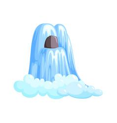 Waterfall cascade in splashing down with foam vector