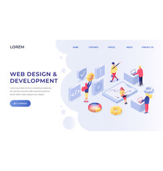 web design and development isometric landing page vector image
