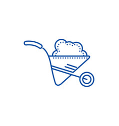 wheelbarrow garden line icon concept wheelbarrow vector image