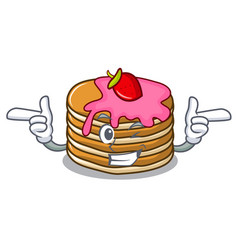 wink pancake with strawberry character cartoon vector image