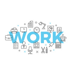 work concept with icons and signs vector image