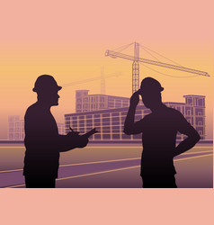 workers silhouettes construction industry vector image
