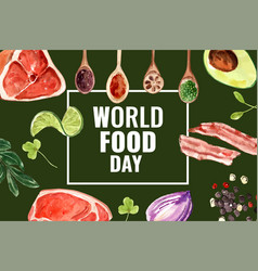 World food day frame design with avocado lotus vector