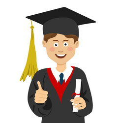 Young boy graduate student in graduation cap vector