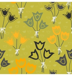 Cute seamless floral pattern with tulips on green vector image vector image