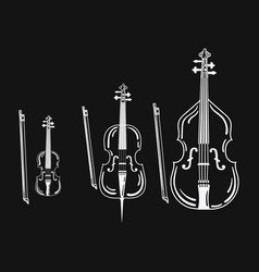set of violins collection of bow musical vector image