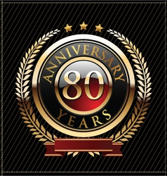 80 years anniversary golden label vector image vector image