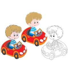 Boy driver vector image