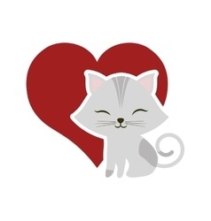 cat clossed eyes red heart vector image