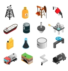 Oil industry isometric 3d icons vector image vector image