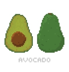 Pixel art game style avocado isolated vector image vector image