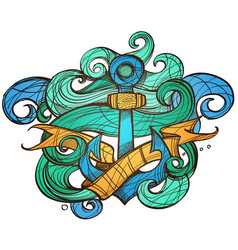 the ships anchor and crab tattoo for design vector image
