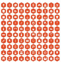 100 needlework icons hexagon orange vector