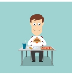 Businessman having fast food lunch vector image vector image