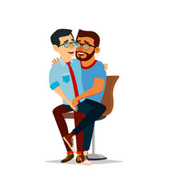 gay couple two hugging men same sex vector image