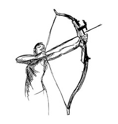 Hand sketch woman shooting a bow and arrow vector image