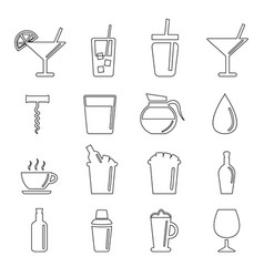 or drinking glass icon set vector image