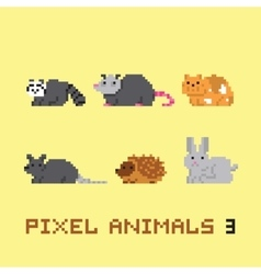 Pixel art style animals cartoon set 3 vector image vector image