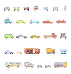 Stylish Retro Car Line Icons Set Isolated vector image