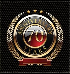 70 years anniversary golden label vector image