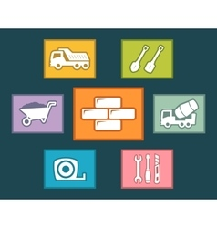 construction icons set on flat design vector image