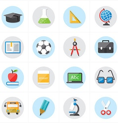 Flat Icons For Education Icons and School Icons vector image