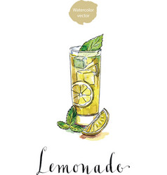 Glass of lemonade or lemon juice with ice cubes vector