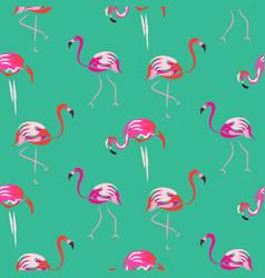 hand drawn pink flamingo bird mint seamless vector image