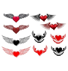 Heart tattoos with wings vector image vector image