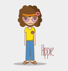 hippie face man with glasses vector image