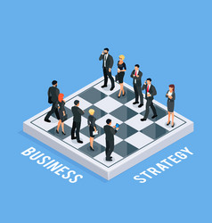 isometric concept of business strategy vector image vector image