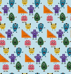 Seamless Pattern with Simply Monsters Background vector image vector image