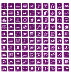 100 programmer icons set grunge purple vector image