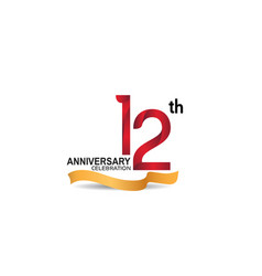 12 anniversary design logotype red color vector