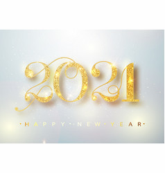 2021 happy new year confetti falls gold numbers vector image