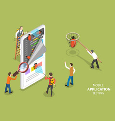 3d isometric flat concept mobile app vector image