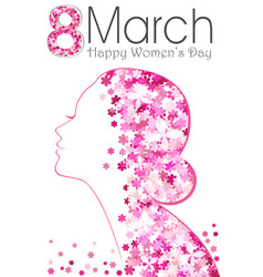 8 march happy women day poster with flowers vector image