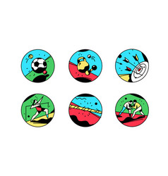 a set icons on a theme sports vintage vector image
