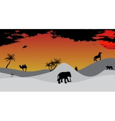Africa Safari Tree Wild Animals vector
