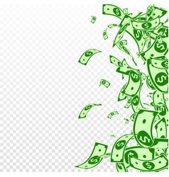 American dollar notes falling messy usd bills on vector