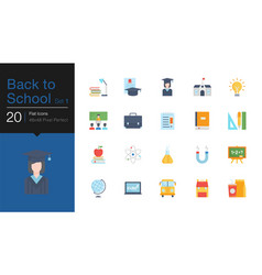 Back to school icons set 1 flat design for vector