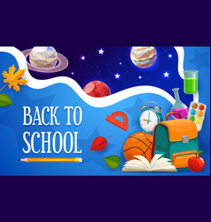 Back to school student bag outer space planets vector