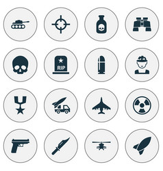 Battle icons set collection of missile military vector
