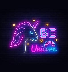 be unicorn neon sign design template vector image