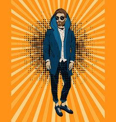 bearded hipster man portrait pop art vector image
