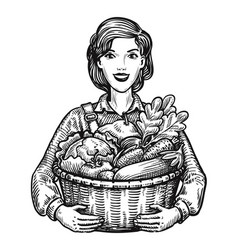 Beautiful girl or happy farmer holding a wicker vector