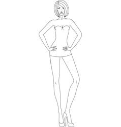 beautiful woman in mini dress vector image