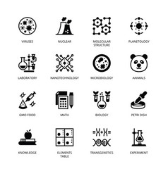 Biochemistry and genetics glyph icons vector
